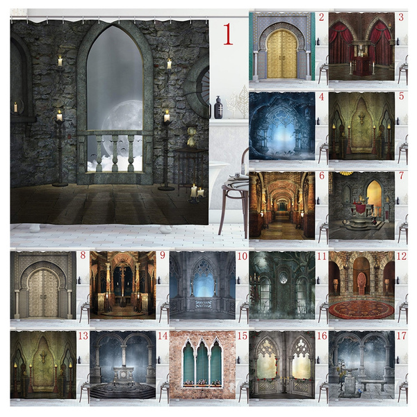 Gothic Shower Curtain Gothic Style Building Arches Bathroom Decoration Shower Curtains 66 X72 Polyester Fabric Waterproof Bath Curtains Hooks Included Wish