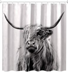 Bathroom, cow, waterproofcurtain, Shower Curtains