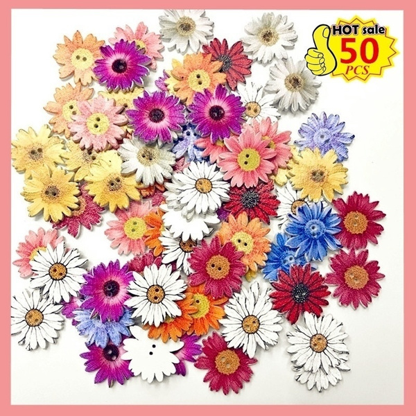 sewingbutton, Decor, Flowers, woodbutton