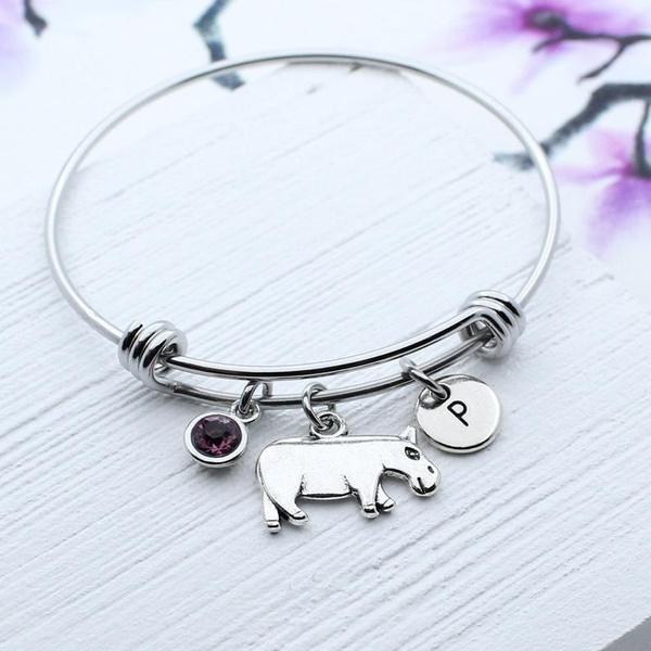 Charm Bracelet, hippo, hippopotamu, Gifts