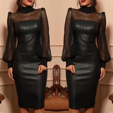 pudres, Fashion, long dress, leather