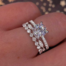 Sterling, Engagement Wedding Ring Set, Jewelry, 925 silver rings