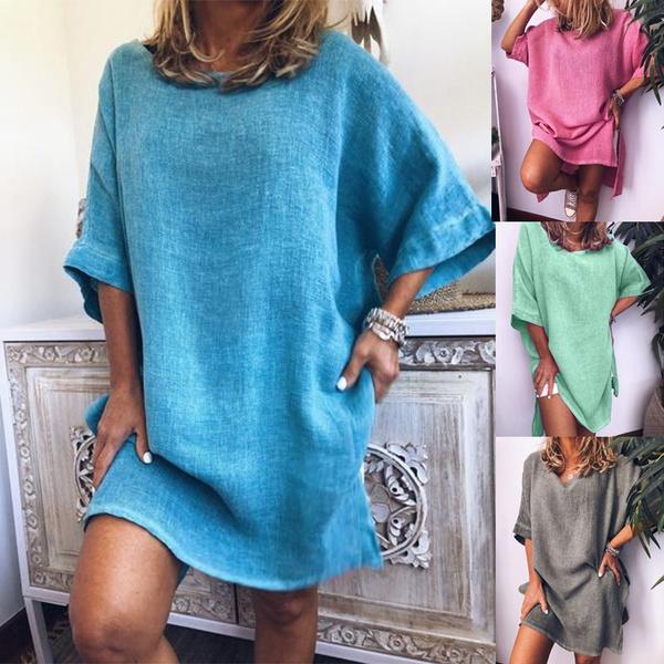 Summer, Plus Size, Dress, short sleeves