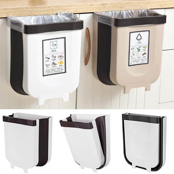 Folding Trash Can Kitchen Cabinet Door, Trash Can For Kitchen Cabinet Door Wastebasket