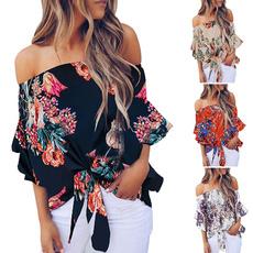 blouse, off shoulder top, blouse women, Floral print