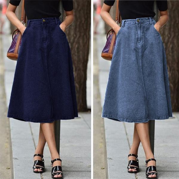 Plus Size, jupelongue, looseskirt, kneelengthskirt