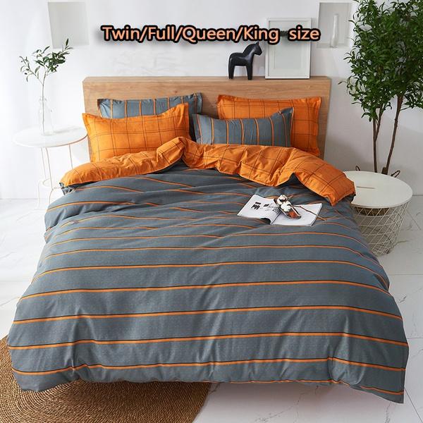 Set Home Textile Bed Linen Duvet Cover, Gray And Orange Bedding