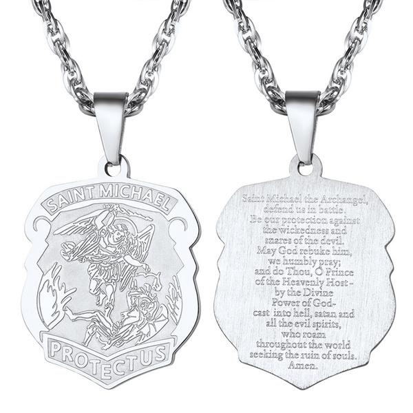 Steel, necklaces for men, punk necklace, saintmichaelnecklace
