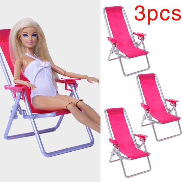Foldable Deckchair Accessories for Barbie 1:6 Scale Dollhouse Furniture Swim