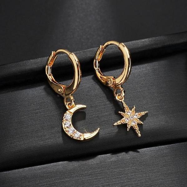 Sterling, Hoop Earring, Star, Jewelry