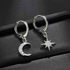 Sterling, Hoop Earring, Star, Jewelry