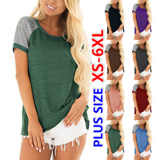Tops & Tees, Plus Size, Summer, patchworkshirt