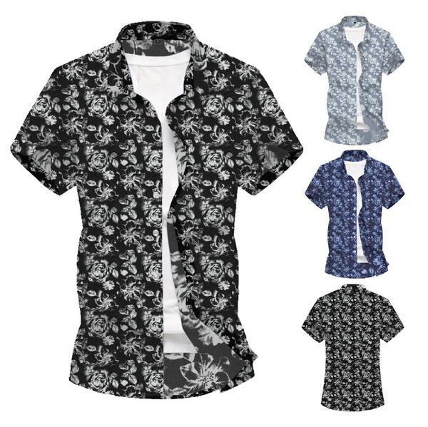 menprintedshirt, Flowers, streetwearloosecasualshirt, Sleeve