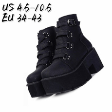 wedge, Goth, Fashion, Leather Boots