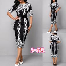 slim dress, printeddres, plus size dress, Sleeve
