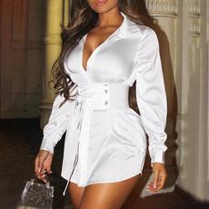 Fashion, Waist, shirt dress, Long Sleeve