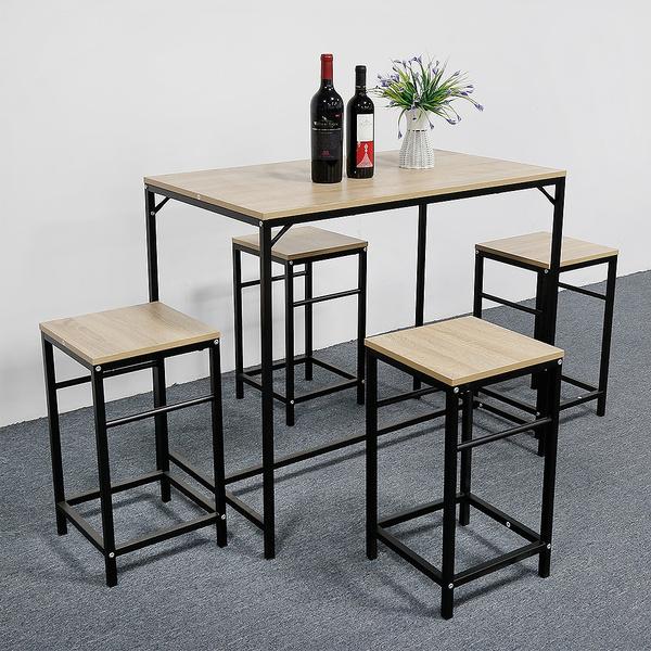 2020 New 1 Ensemble Table De Bar Bistrot 4 Tabourets Avec Repose Pieds Table Mange Debout Table Haute Cuisine Fr Geek
