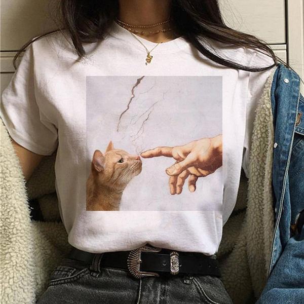 cute, white shirt, art, Cotton T Shirt