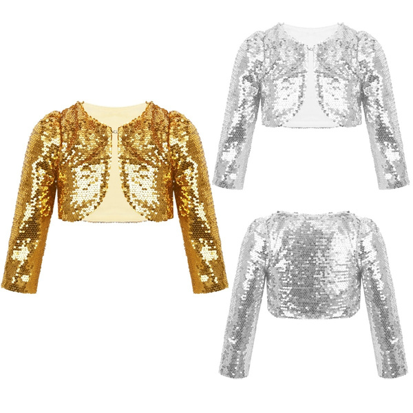 Girls Bolero Sequins Jacket Shiny Short Cardigan Wedding Birthday Dress Cover Up