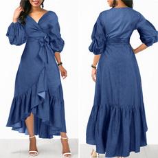 party, ruffle, Sleeve, long dress