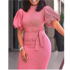 fashion sexy dresses, Midi Dresses, office dress, Sleeve