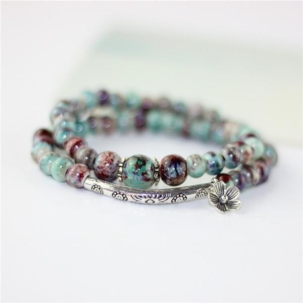 ethnicbracelet, glassbeadbracelet, Colorful, multi-layer bracelet