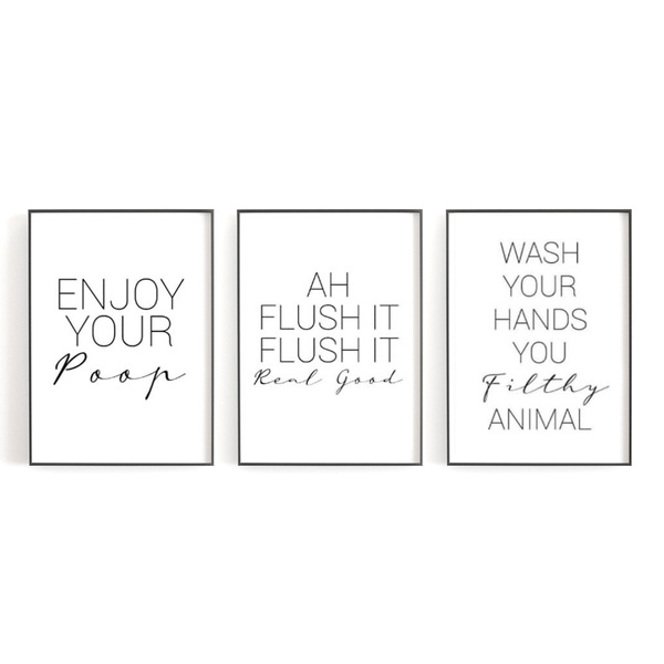 Black White Funny Quotes Poster Print Wall Canvas Modern Design For Bathroom Decoration Toilet Decor Lovely Murals Without Frames Wish