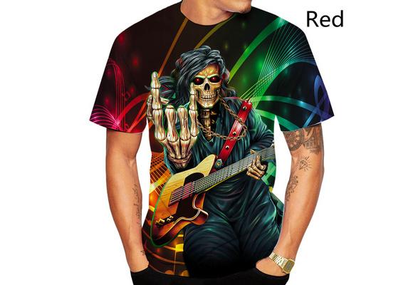 Ladies T-Shirt Colourful SKULL MOHAWK Punk Rock Guitar Drum Band Novelty Music