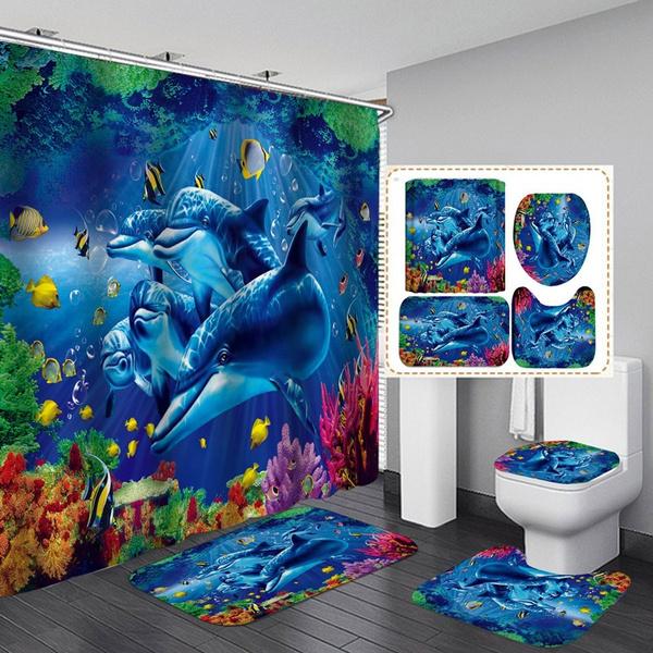 Blue Sea Dolphin Print Waterproof Bathroom Shower Curtain Toilet Cover Mat 4pcs