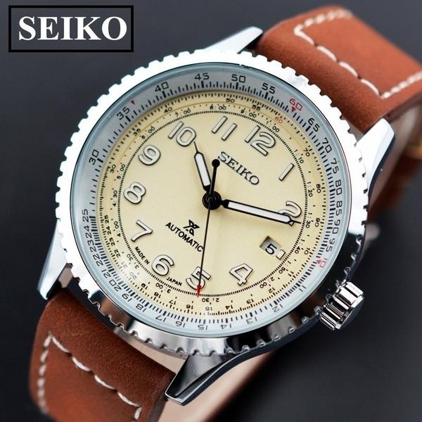 menmechanicalwatch, leather, Automatic Watch, seikowatchautomatic
