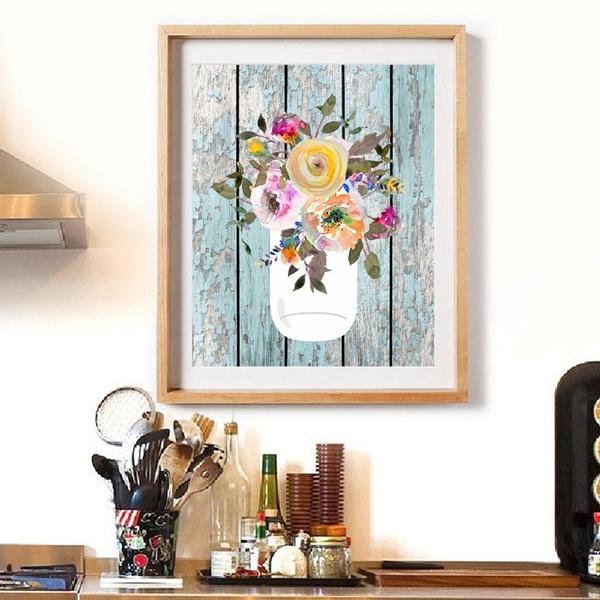 Farmhouse Poster Prints Mason Jar Watercolor Art Canvas Painting Aqua Home Decor Wall Art Picture Kitchen Wall Decoration No Frame Wish