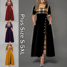 short sleeve dress, Plaid Dress, Sleeve, long dress