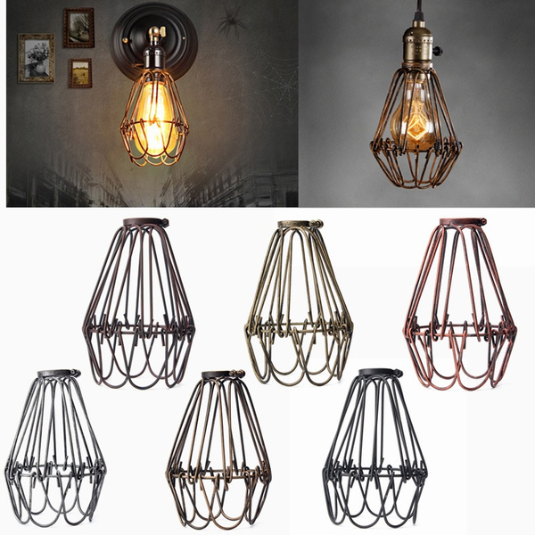 Retro Vintage Industrial Lamp Covers Mental Pendant Chandelier Trouble Edison Lampshade Light Bulb Guard Wire Cage Ceiling Hanging Lamp Shade Fitting Bars Cafe Without Bulb Wish