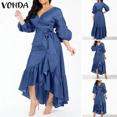 denim dress, sleeve v-neck, springsummerdres, Plus Size
