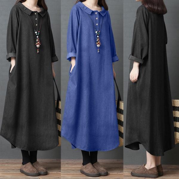 denim dress, Jeans Dress, sleeve dress, long sleeve dress