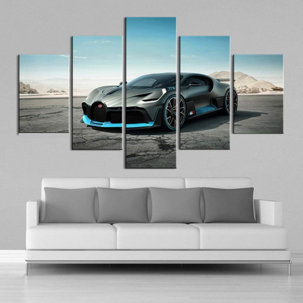 Unframed Hd Bugatti Vehicle 5 Pieces Canvas Wall Art Prints Paintings Sports Car Poster Sport Car Poster Boys Room Home Decorationa Times X Times X X Times Wish