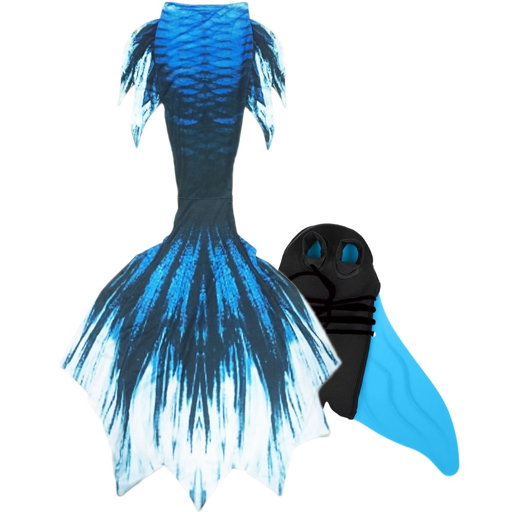 Kids Swimmable Mermaid Tail With ChoicesMonofinBra TopTURQUOISE TEAL
