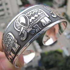 elephantsilvertotemcuffbracelet, Jewelry, Bracelet, elephantsilvertotembangle
