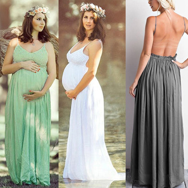 Sleeveless Prom Gown Sling Long Dress Pregnant Women Maternity Clothes Photography Prop Summer Fashion Ladies Lace Flower Backless Party Dresses Shooting Photo Wish