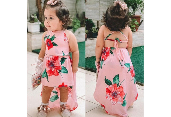 Toddler Girls Sleeveless Floral Flowers Baby Summer Princess Dress Hat Outfits