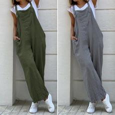 Summer, pants, Vintage, solidcolorjumpsuit