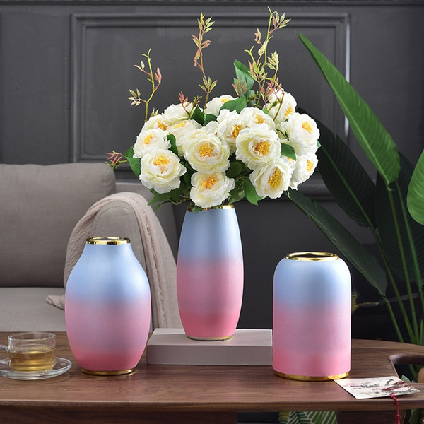 Pink Ceramic Vase Decoration Flower Arrangement Living Room Bedroom Dining Table Tv Cabinet Modern Minimalist Art Vase Wish