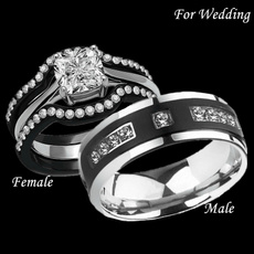 Couple Rings, Steel, Engagement Wedding Ring Set, Women Ring