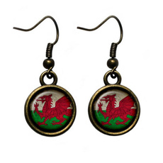 Glass, Ornament, earringsstudhangingwaleswelshflagwalesflag