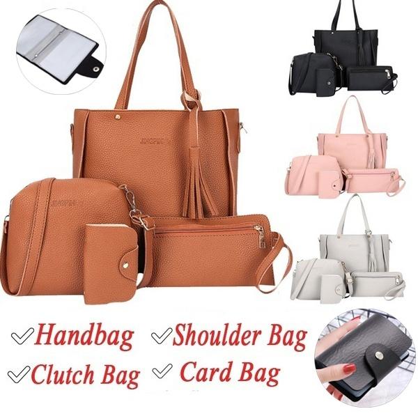 4pcs//set Litchi Leather Tassel Women Tote Shoulder Handbag Clutch Card Bags