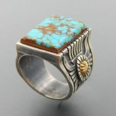 Antique, Sterling, Turquoise, vintage ring
