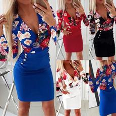 Plus Size, Deep V-neck Dress, women dresses, Long Sleeve