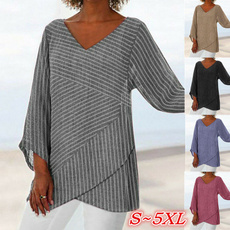 sleeve v-neck, Plus size top, Women Blouse, vnecktop