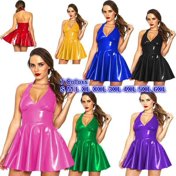 Mini, halter dress, Shiny, Halter