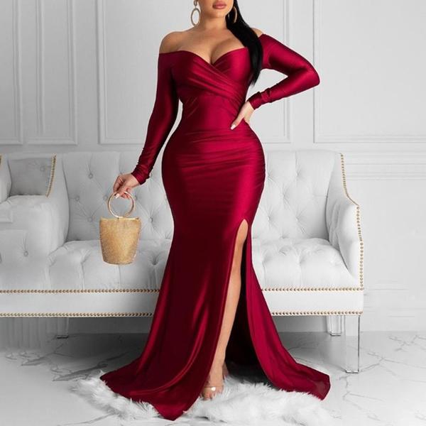 Fashion, Long Sleeve, Evening Dress, Dress